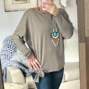 Tops - New. Batwing Top with Side Tie and Button Details